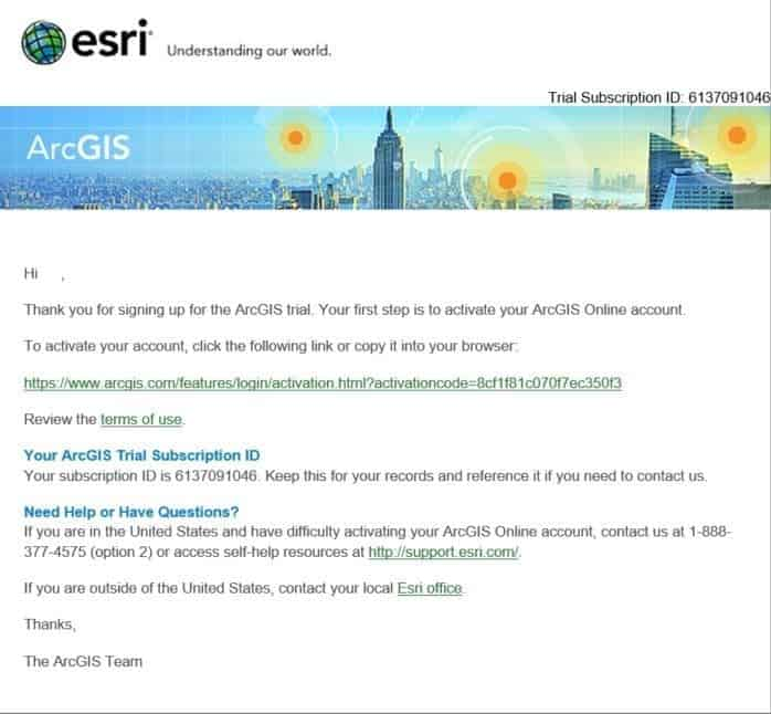 Sign Up for the ArcGIs Trial Confirmation Subscription