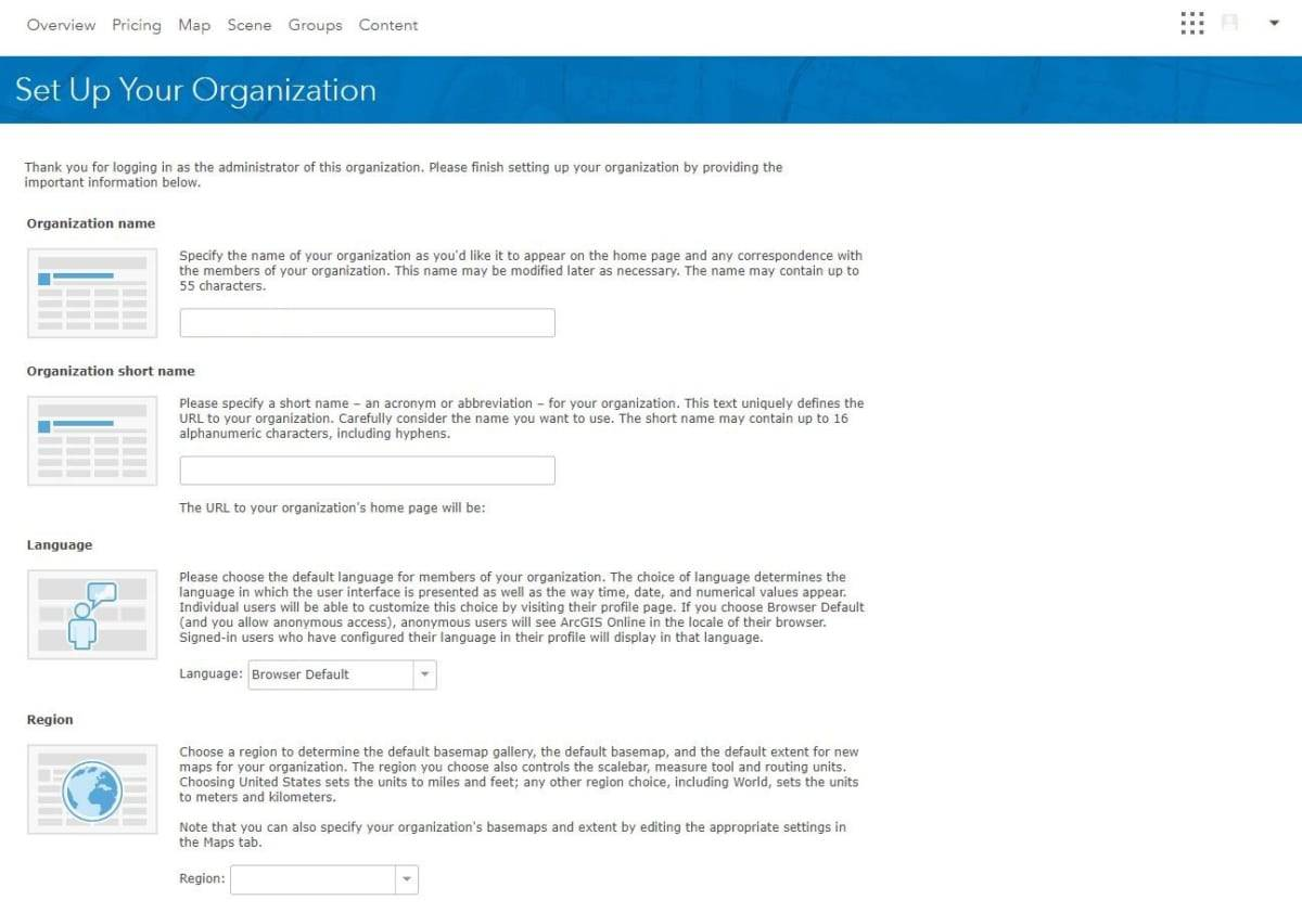 Sign Up for the ArcGIs Trial Setup Organization