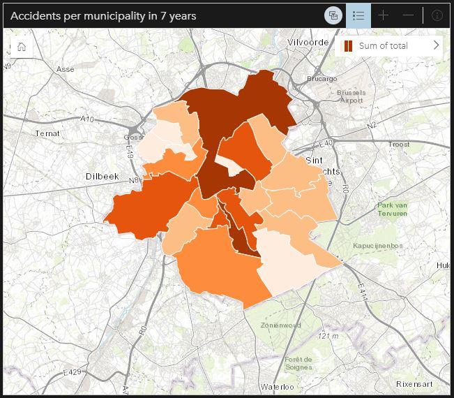 Accidents per municipality