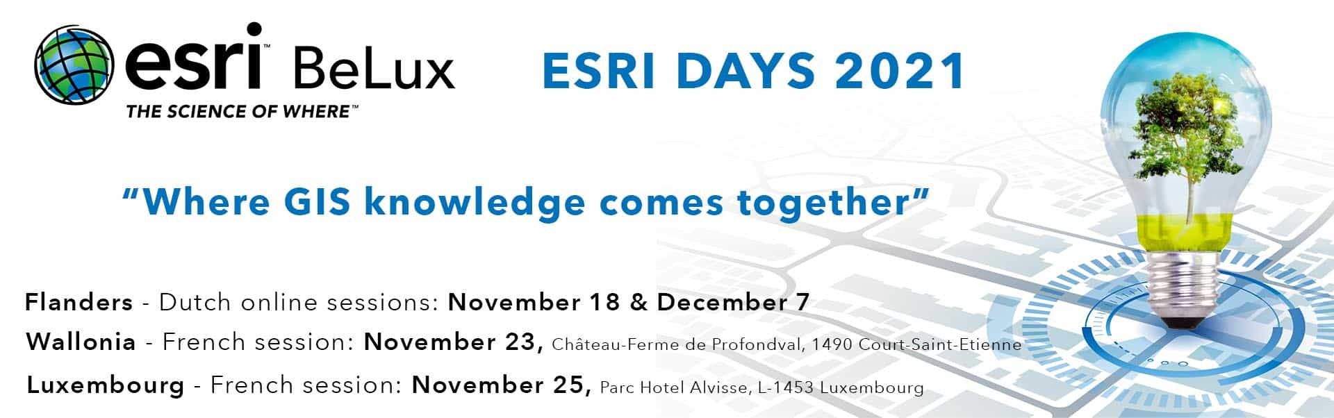 webssite banner Esri Days 2021 language and online sessions